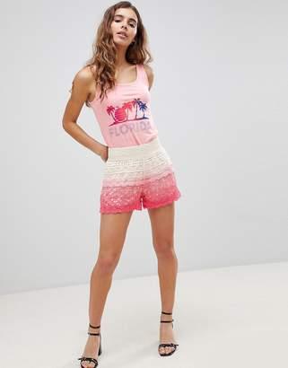 Brave Soul Andrea Crochet Shorts In Dip Dye