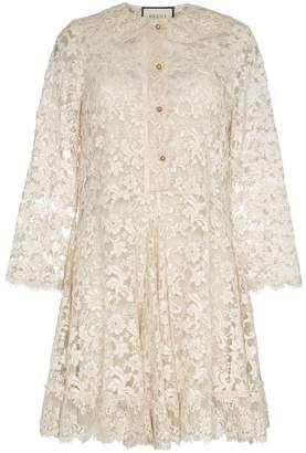 Gucci collared lace silk mini dress