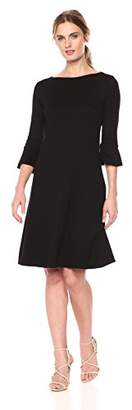 Three Dots Women's Heritage Knit 3/4 Sleeve Short Loose Ruffle Dress