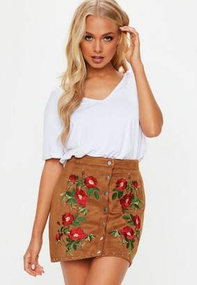 Missguided Tan Suedette Embroidered Button Mini Skirt, Tan