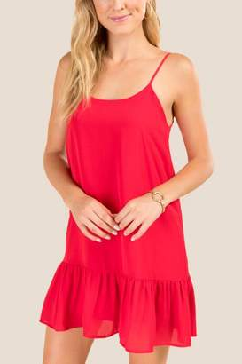 francesca's Alexandra Ruffle Hem Shift Dress - Rust