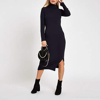 River Island Womens Navy rib roll neck button side midi dress