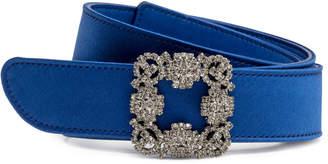 Manolo Blahnik Hangisi royal blue satin 30mm belt
