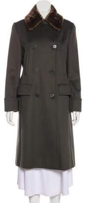 Max Mara Camel Hair Fur-Trimmed Coat