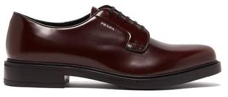 Prada Logo Print Leather Derby Shoes - Mens - Burgundy