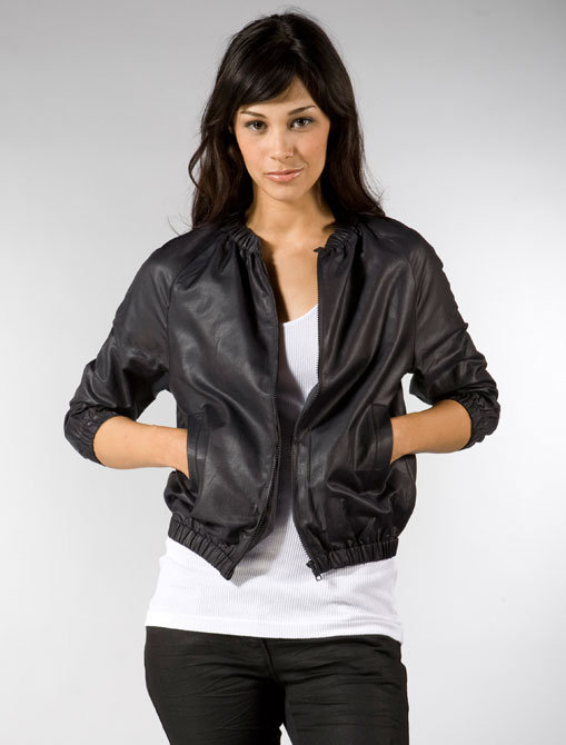 Built by Wendy Shiny Coated Poplin Cropped Bomber in Black