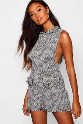 boohoo Tweed Button And Chain Trim Pinafore Playsuit