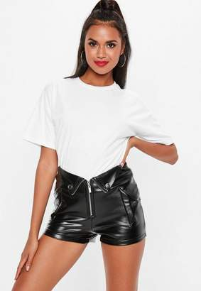 Missguided Black Fold Over PU Hot Pant Shorts