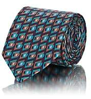 Prada Men's Abstract-Square-Print Silk Faille Necktie - Wine