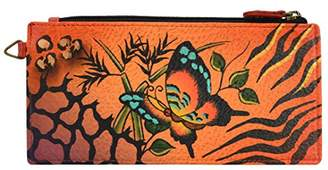 Anuschka Anna By Handpainted Leather Wallet Animal Butterfly-tan Credit Card Holder