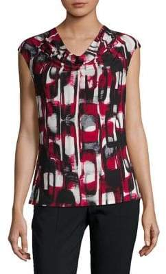 Kasper Suits Printed Cowl Neck Tank