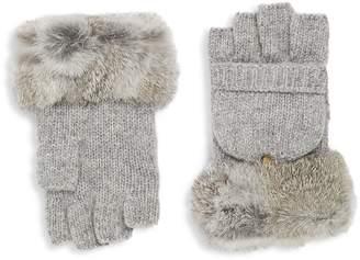Adrienne Landau Women's Fingerless Rex Rabbit Gloves