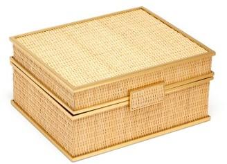 AERIN Colette Small Woven Cane Jewellery Box - Cream