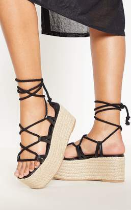7e92805e43ef PrettyLittleThing Black Rope Ghillie Lace Up Espadrille Flatform