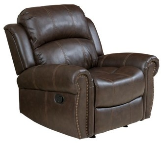 Noble House Charles Brown Bonded Leather Gliding Recliner