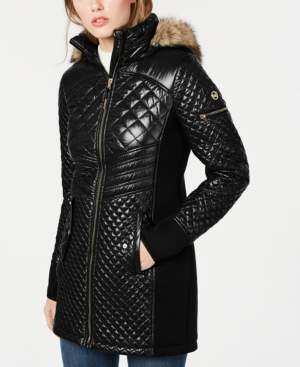 Michael Kors Michael Hooded Faux-Fur-Trim Puffer Coat