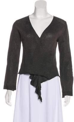 Dries Van Noten Metallic Wool-Blend Sweater Green Metallic Wool-Blend Sweater