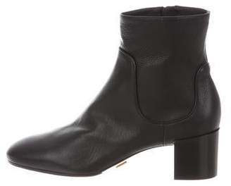 Michael Kors Leather Round-Toe Ankle Boots