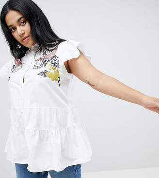 Lost Ink Plus Sleeveless Blouse With Bird Embroidery