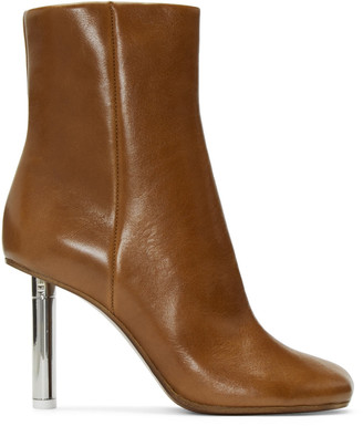 Vetements Brown Leather Ankle Boots $1,790 thestylecure.com