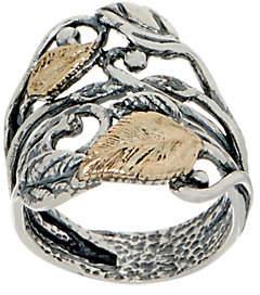 Or Paz Sterling Silver 14K Gold Leaf Ring
