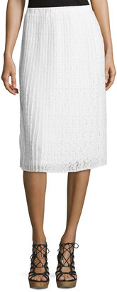 Neiman Marcus Pleated Floral-Lace Midi Skirt, Ivory $75 thestylecure.com