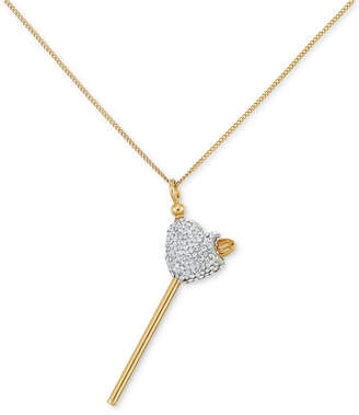 clear Sis by Simone I. Smith Crystal Heart Lollipop Small Pendant Necklace in 18k Gold over Sterling Silver