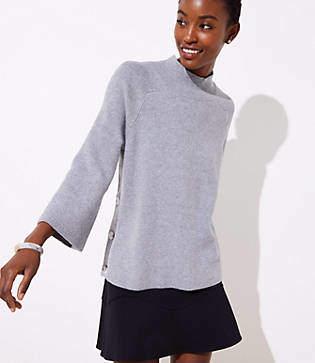 LOFT Mock Neck Side Button Sweater