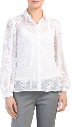 5bd86c2249e15 Sheer White Button Down Blouse - Image Of Blouse and Pocket