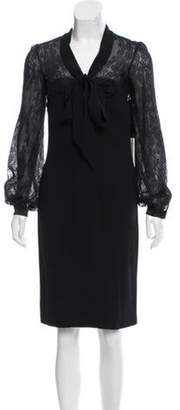 Valentino Lace-Accented Knee-Length Dress w/ Tags Black Lace-Accented Knee-Length Dress w/ Tags