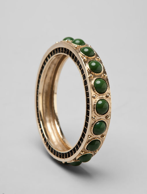 House of Harlow Green Cabochon Stones Bangle