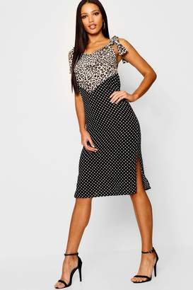 boohoo Leopard & Spot Spliced Midi Dress