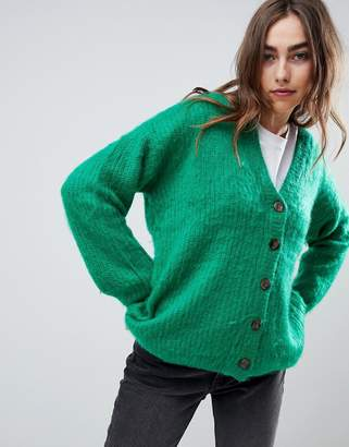 Asos DESIGN Knitted Cardigan in Brushed Yarn