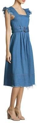 Sea Flutter Sleeve Belted Fit-&-Flare Dress