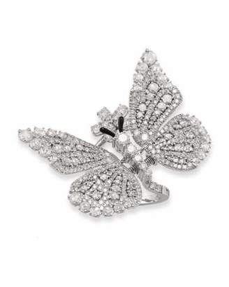 Staurino Tremblant 18k White Gold Diamond Butterfly Ring