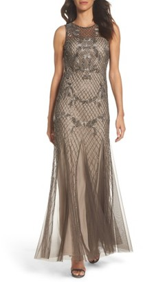 Women's Adrianna Papell Beaded Mesh Gown $379 thestylecure.com