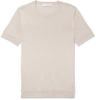 Orlebar Brown Laughton Slim-fit Silk And Cotton-blend T-shirt - Beige
