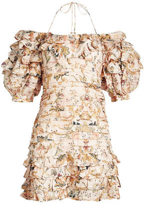 Zimmermann Painted Hearts Linen-Silk Printed Dress with Pleats