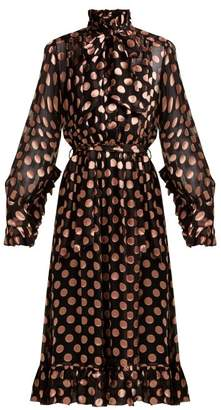 Zimmermann Polka Dot Crepe Chiffon Dress - Womens - Black Pink
