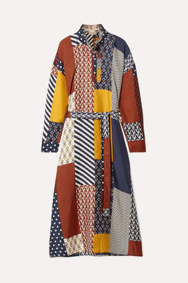 Tory Burch Bianca Patchwork Printed Silk-twill Midi Dress - Navy
