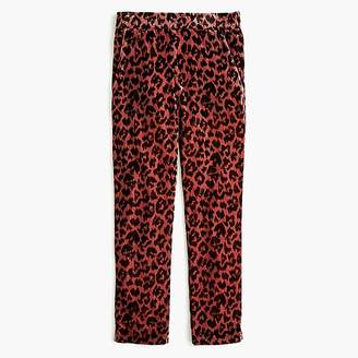 J.Crew Tall pull-on easy pant in rose leopard velvet