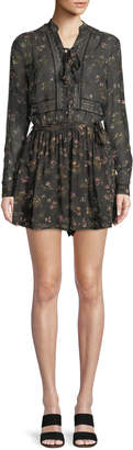 Zimmermann Long-Sleeve Floral-Print Playsuit w/ Lace Trim