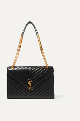 Saint Laurent - Cassandre Large Quilted Textured-leather Shoulder Bag - Black $2,590 thestylecure.com