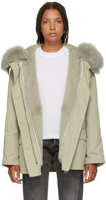 Yves Salomon Army Army Grey Classic Short Fur-Lined Parka