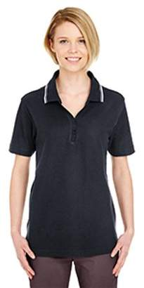UltraClub Ladies' Short-Sleeve Whisper Pique Polo with Tipped Collar 8546