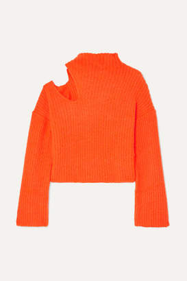 Beaufille Forero Neon Cutout Ribbed-knit Turtleneck Sweater - Bright orange