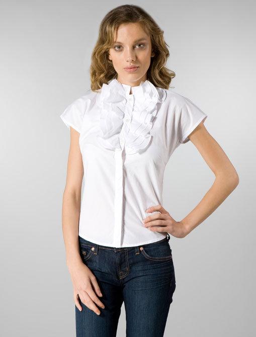 Moschino Jeans Poplin Ruffle Blouse in White