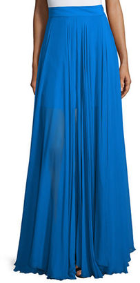 Milly Flowy Silk Maxi Skirt W/ Front Slit $650 thestylecure.com