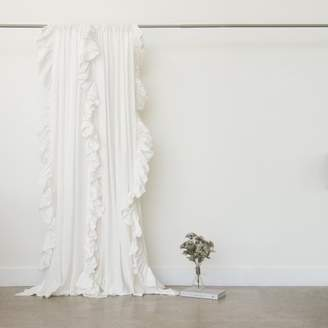 August Grove Verdon Belgian Flax Linen Ruffle Border Solid Semi-Sheer Rod Pocket Single Curtain Panel