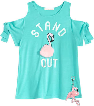 Self Esteem 2-Pc. Flamingo Cold Shoulder T-shirt & Keychain Set, Big Girls